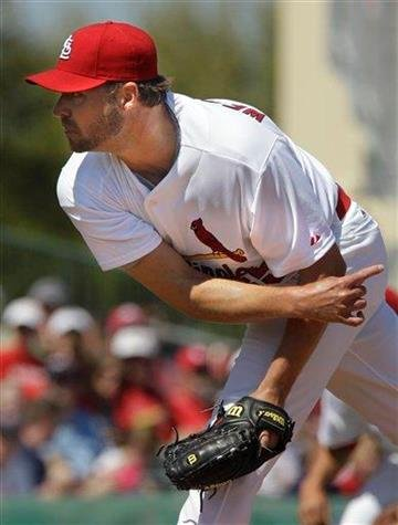 St. Louis Cardinals starting pitcher Jake Westbrook (35) throws during a spring training baseball game against the Minnesota Twins Saturday, March 12, 2011, in Jupiter, Fla. (AP Photo/Carlos Osorio) By Carlos Osorio