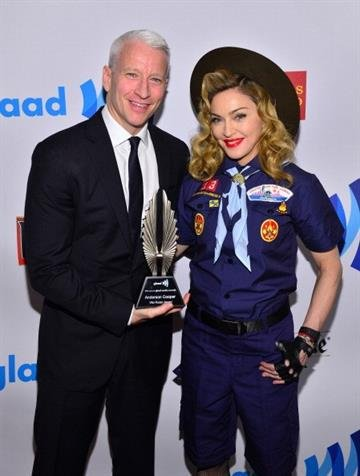 NEW YORK, NY - MARCH 16:  Anderson Cooper and Madonna poses backstage at the 24th Annual GLAAD Media Awards on March 16, 2013 in New York City.  (Photo by Larry Busacca/Getty Images for GLAAD) By Larry Busacca