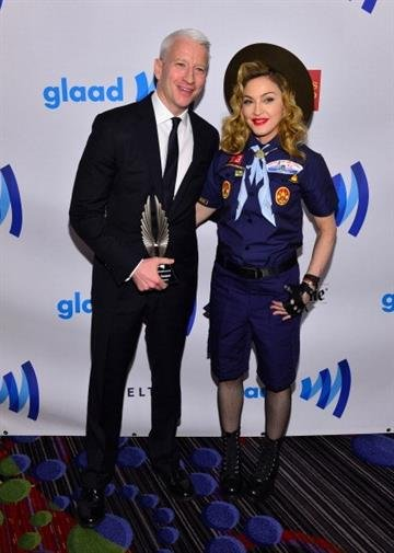 NEW YORK, NY - MARCH 16:  Anderson Cooper and Madonna attend the 24th Annual GLAAD Media Awards on March 16, 2013 in New York City.  (Photo by Larry Busacca/Getty Images for GLAAD) By Larry Busacca