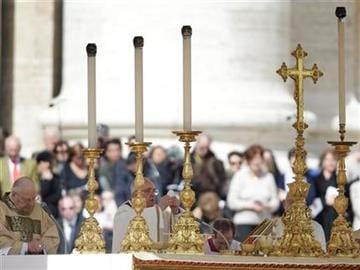 Pope Francis celebrates Mass during his inauguration in St. Peter's Square at the Vatican, Tuesday, March 19, 2013. (AP Photo/Gregorio Borgia) By Gregorio Borgia