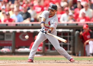 CINCINNATI, OH - AUGUST 26:  Rafael Furcal #15 of the St. Louis Cardinals swings at a pitch during the game against the Cincinnati Reds at Great American Ball Park on August 26, 2012 in Cincinnati, Ohio.  (Photo by Andy Lyons/Getty Images) By Andy Lyons