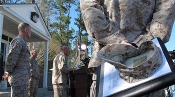 Marine Brig. Gen. Jim Lukeman addresses the media outside the gates of Camp Lejeune, N.C., on Tuesday, March 19, 2013. Seven Marines from the base were killed in a mortar accident in Nevada Monday night. (AP Photo/Allen Breed) By Brendan Marks