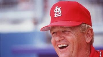 Manager Whitey Herzog of the St. Louis Cardinals during a Cardinals game at Busch Stadium in St. Louis, Missouri.
