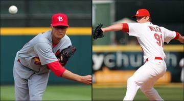 Joe Kelly (L) and Shlby Miller (R) are competing for the final spot in the Cards' starting rotation