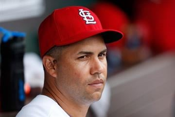 JUPITER, FL - FEBRUARY 28:  Carlos Beltran #3 of the St. Louis Cardinals sits in the dugout during the game against the Miami Marlins the Roger Dean Stadium on February 28, 2013 in Jupiter, Florida.  (Photo by Chris Trotman/Getty Images) By Chris Trotman