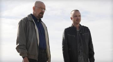 """Bryan Cranston as Walter White, left, and Aaron Paul as Jesse Pinkman are shown in a scene from the season 5 premiere of """"Breaking Bad."""" / AP Photo/AMC By Brendan Marks"""
