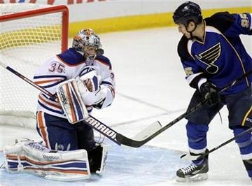 Edmonton Oilers goalie Nikolai Khabibulin (35) makes a save on a shot from St. Louis Blues' Chris Stewart (25) in the third period of an NHL hockey game, Tuesday, March 26, 2013, in St. Louis. The Oilers won 3-0. (AP Photo/Tom Gannam) By Tom Gannam