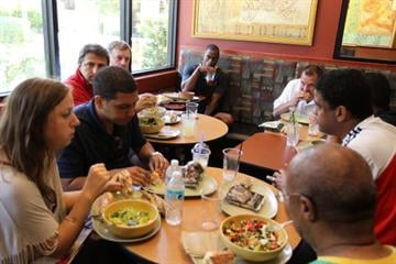 CLERMONT, FL - JUNE 14:  Olympic sprinter Tyson Gay of the United States of America eats lunch with the media at Panera Bread resturaunt on June 14, 2010 in Clermont, Florida.  (Photo by Al Bello/Getty Images) By Al Bello