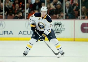 ANAHEIM, CA - FEBRUARY 29:  Jordan Leopold #3 of the Buffalo Sabres skates against the Anaheim Ducks at Honda Center on February 29, 2012 in Anaheim, California.  (Photo by Jeff Gross/Getty Images) By Jeff Gross