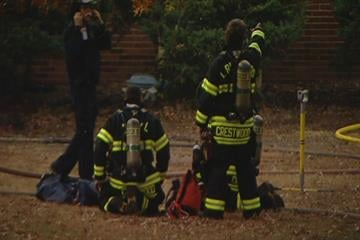 Firefighters battle a blaze at a Sunset Hills home in the 12000 block of Edelen on Friday, November, 12, 2010. By KMOV Web Producer