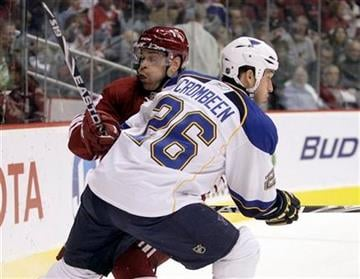 Phoenix Coyotes defenseman Garrett Stafford, left, checks St. Louis Blues right winger B.J. Crombeen, right, in the first period of an NHL hockey game Saturday, Nov. 13, 2010, in Glendale, Ariz. (AP Photo/Paul Connors) By Paul Connors
