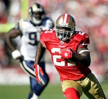 San Francisco 49ers running back Frank Gore runs against the St. Louis Rams during the second quarter of an NFL football game in San Francisco, Sunday, Nov. 14, 2010. (AP Photo/Ben Margot) By Ben Margot