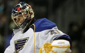 St. Louis Blues goalie Jaroslav Halak (41) of Slovakia looks down at the ice before the third period of an NHL Hockey game in Denver, Nov.15, 2010. He gave up 6 goals as the Avalanche take it 6-3. (AP Photo/Barry Gutierrez) By Barry Gutierrez