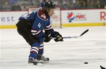 Colorado Avalanche defenseman John-Michael Liles (4)  drives down ice against the St. Louis Blues during third period of an NHL Hockey game in Denver, Nov. 15, 2010. Avalanche won 6-3. (AP Photo/Barry Gutierrez) By Barry Gutierrez