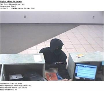The man seen in this November 17, 2010 surveillance photo is a suspect in a bank robbery at the PNC bank in Affton, Missouri. By KMOV Web Producer