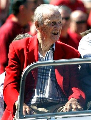 Major League Baseball Hall of Fame member and St. Louis Cardinals great Stan Musial arrives before the start of the Cardinals home opener baseball game against the Houston Astros Monday, April 12, 2010, in St. Louis. (AP Photo/Tom Gannam) By Tom Gannam