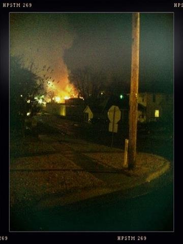 This viewer-submitted photo shows a raging fire at a Vandalia restaurant early Thursday morning on November 18, 2010. The restaurant was totally destroyed. By KMOV Web Producer