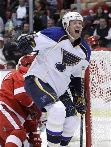 St. Louis Blues winger Brad Winchester celebrates his goal during the second period of an NHL hockey game against the Detroit Red Wings in Detroit, Wednesday, Nov. 17, 2010. (AP Photo/Carlos Osorio) By Carlos Osorio
