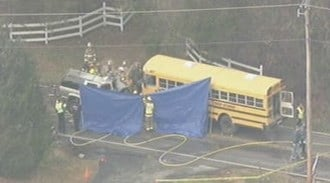 This aerial photo shows the scene of a deadly bus accident near Eureka that killed a 20-year-old woman and injured five children on November 18, 2010. By Lakisha Jackson