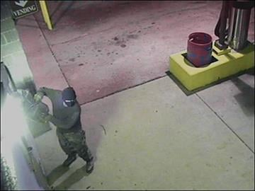 A suspect in Jefferson County uses a gas powered cut-off saw to attempt to get into a car wash change machine.  He was not successful, but caused several thousand dollars in damage. By Brian Thouvenot