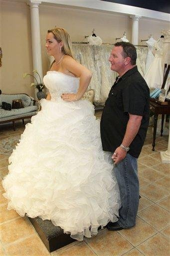 """In this undated publicity image released by VH1, Alyssa, left, is shown at a wedding dress fitting in a scene with her wedding planner in the VH1 reality series """"My Big Friggin' Wedding."""" (AP Photo/VH1) By KMOV Web Producer"""