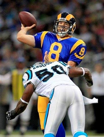St. Louis Rams quarterback Sam Bradford throws the ball as Carolina Panthers linebacker James Anderson delivers a hit during the second quarter of an NFL football game Sunday, Oct. 31, 2010, in St. Louis. (AP Photo/Jeff Roberson) By Jeff Roberson