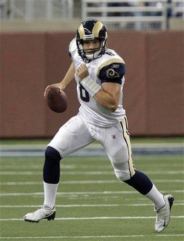 St. Louis Rams quarterback Sam Bradford scrambles during the first quarter of an NFL football game against the Detroit Lions in Detroit, Sunday, Oct. 10, 2010. (AP Photo/Carlos Osorio) By Carlos Osorio