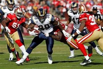 St. Louis Rams running back Steven Jackson runs against the San Francisco 49ers during the second quarter of an NFL football game in San Francisco, Sunday, Nov. 14, 2010. (AP Photo/Paul Sakuma) By Paul Sakuma