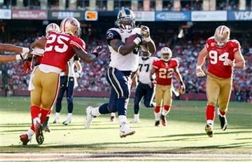 St. Louis Rams running back Steven Jackson runs into the endzone for a 13-yard rushing touchdown during the third quarter of an NFL football game in San Francisco, Sunday, Nov. 14, 2010. (AP Photo/Ben Margot) By Ben Margot