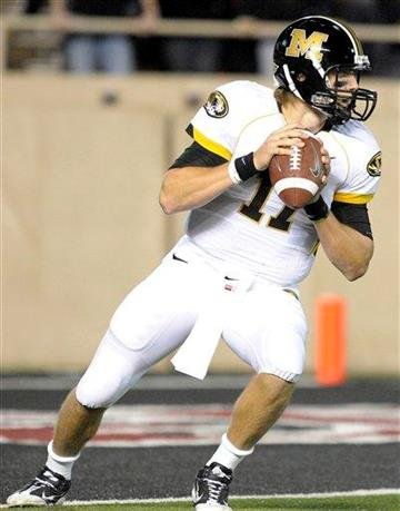 Missouri quarterback Blaine Gabbert looks for an open receiver during the first half of an NCAA college football game against Texas Tech at Jones AT&T Stadium, Saturday, Nov. 6, 2010, in Lubbock, Texas. (AP Photo/John A. Bowersmith) By John A. Bowersmith