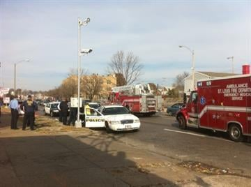 This photo shows the scene where an Uplands Park police officer was struck Friday morning while trying to make a traffic stop (November 19, 2010).