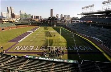 Pictured is Wrigley Field, lined for next Saturday's college football game between Northwestern University and University of Illinois Monday, Nov. 15, 2010 in Chicago. (AP Photo/Charles Rex Arbogast) By Charles Rex Arbogast