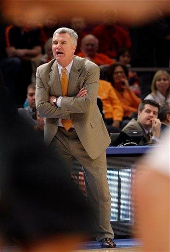Illinois head coach Bruce Weber calls out to his team in the first half of an NCAA college basketball game against Maryland at the 2K Sports Classic tournament, Friday, Nov. 19, 2010  in New York.  (AP Photo/Frank Franklin II) By Frank Franklin II
