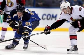 St. Louis Blues' B.J. Crombeen, left, and Ottawa Senators' Peter Regin, of Denmark, reach for a loose puck during the third period of an NHL hockey game Friday, Nov. 19, 2010, in St. Louis. The Blues won 5-2. (AP Photo/Jeff Roberson) By Jeff Roberson