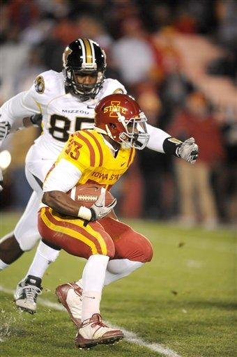 Missouri's Marcus Lucas, top, pursues Iowa State's Alexander Robinson during first half of an NCAA college football game in Ames, Iowa., Saturday, Nov. 20, 2010. (AP Photo/Steve Pope) By Steve Pope