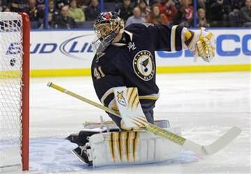 St. Louis Blues goalie Jaroslav Halak (41) watches the shot from New Jersey Devils' David Clarkson sail into the net in the first period of a NHL hockey game, Saturday, Nov. 20, 2010 in St. Louis.(AP Photo/Tom Gannam) By Tom Gannam