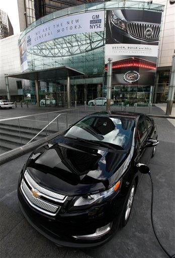 A 2011 Chevrolet Volt is shown charging outside General Motors headquarters in Detroit, Thursday, Nov. 18, 2010. GM is returning to life as a public company Thursday with an initial public offering of stock.  (AP Photo/Paul Sancya) By Paul Sancya