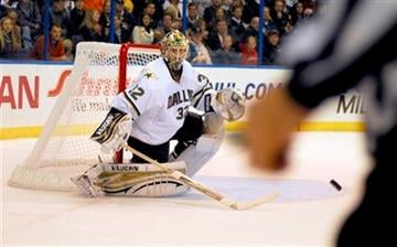 Dallas Stars goalie Kari Lehtonen (32), of Finland, prepares to block shot by the St. Louis Blues during the second period of an NHL hockey game, Saturday, Nov. 27, 2010, in St. Louis. (AP Photo/Sid Hastings) By Sid Hastings