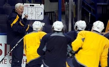 Ken Hitchcock, left, runs his first practice after being named head coach of the St. Louis Blues hockey team Monday, Nov. 7, 2011, in St. Louis. (AP Photo/Jeff Roberson) By Jeff Roberson