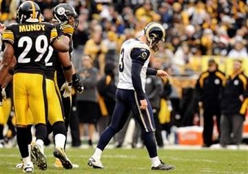 St. Louis Rams kicker Josh Brown (3) walks away after missing a field goal in the fourth quarter of an NFL football game on Saturday, Dec. 24, 2011, in Pittsburgh. The Steelers won 27-0. (AP Photo/Don Wright) By Don Wright