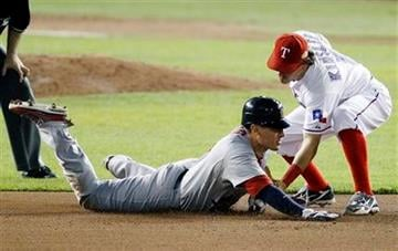 Texas Rangers' Ian Kinsler catches St. Louis Cardinals' Allen Craig stealing during the seventh inning of Game 5 of baseball's World Series Monday, Oct. 24, 2011, in Arlington, Texas. (AP Photo/Eric Gay) By Eric Gay