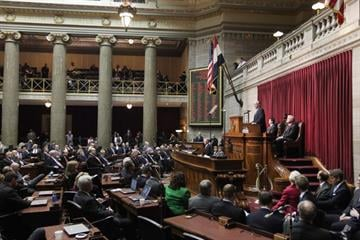 Missouri Governor Jay Nixon delivers the State of the State address in the Missouri Capitol in Jefferson City, Missouri on January 28, 2013.    UPI/Bill Greenblatt By BILL GREENBLATT