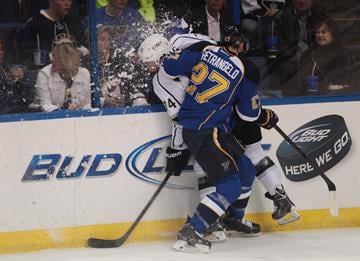 St. Louis BluesAlex Pietrangelo elbows Los Angeles Kings Dwight King into the boards in the first period at the Scottrade Center in St. Louis on May 8, 2013.   UPI/Bill Greenblatt By BILL GREENBLATT