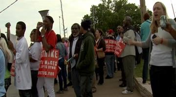 Workers at more than 20 fast-food restaurants in the St. Louis region went on strike Thursday to push for higher wages, better working conditions and a union. By Brendan Marks