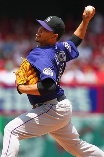 ST. LOUIS, MO - MAY 11: Starter Jhoulys Chacin #45 of the Colorado Rockies pitches against the St. Louis Cardinalsat Busch Stadium on May 11, 2013 in St. Louis, Missouri.  (Photo by Dilip Vishwanat/Getty Images) By Dilip Vishwanat