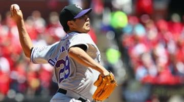 ST. LOUIS, MO - MAY 12: Starter Jorge De La Rosa #29 of the Colorado Rockies pitches against the St. Louis Cardinals at Busch Stadium on May 12, 2013 in St. Louis, Missouri.  (Photo by Dilip Vishwanat/Getty Images) By KMOV Web Producer