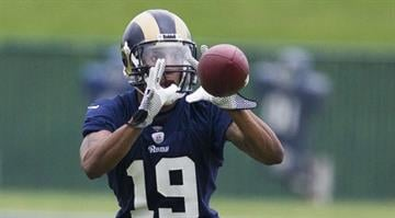 EARTH CITY, MO - MAY 10: C.J. Akins (19) of the St. Louis Rams catches a ball during the 2013 St. Louis Rams rookie camp at Rams Park on May 10, 2013 in Earth City, Missouri. (Photo by David Welker/Getty Images) By David Welker