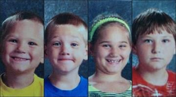 Derrick Twardoski, 33, is accused of deliberately starting a fire that killed (from L to R) Landon Owen, 5, Brandon Owen, 5, Kailey Owen, 9, and Ethan Owen, 12. By Belo Content KMOV