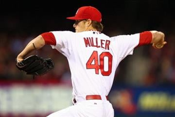 ST. LOUIS, MO - APRIL 12: Starter Shelby Miller #40 of the St. Louis Cardinals pitches against the Milwaukee Brewers in the first inning at Busch Stadium on April 12, 2013 in St. Louis, Missouri. (Photo by Dilip Vishwanat/Getty Images) By Dilip Vishwanat
