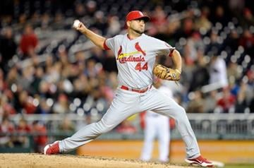 WASHINGTON, DC - APRIL 23:  Edward Mujica #44 of the St. Louis Cardinals pitches in the ninth inning against the Washington Nationals at Nationals Park on April 23, 2013 in Washington, DC.  (Photo by Greg Fiume/Getty Images) By Greg Fiume